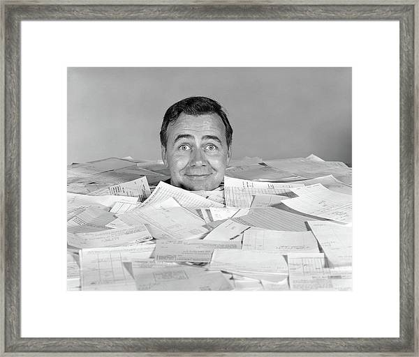 1960s Man Buried Up To His Neck Framed Print