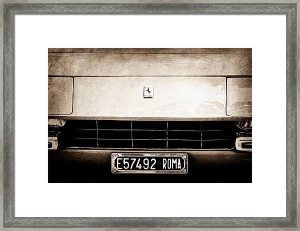 1972 Ferrari 365 Gtb -4a Grille Emblem Framed Print