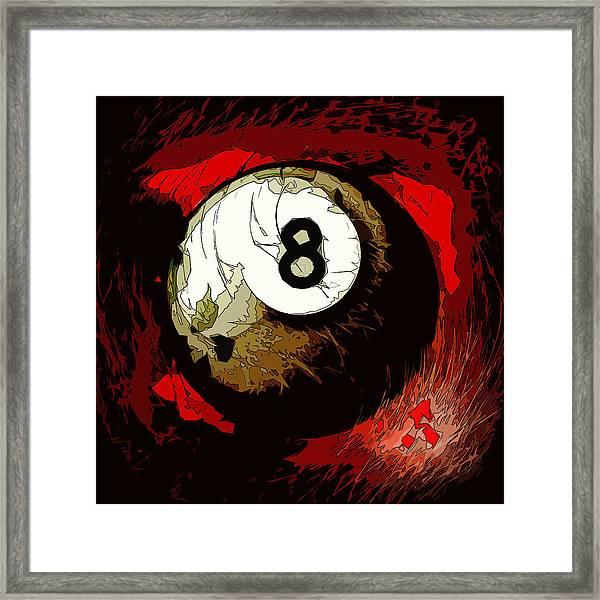 8 Ball Billiards Abstract Framed Print