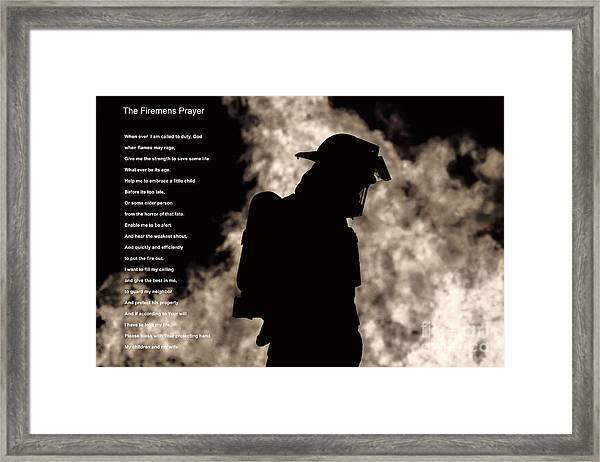A Firemens Prayer Framed Print