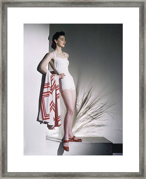 A Model Wearing A Bathing Suit Framed Print