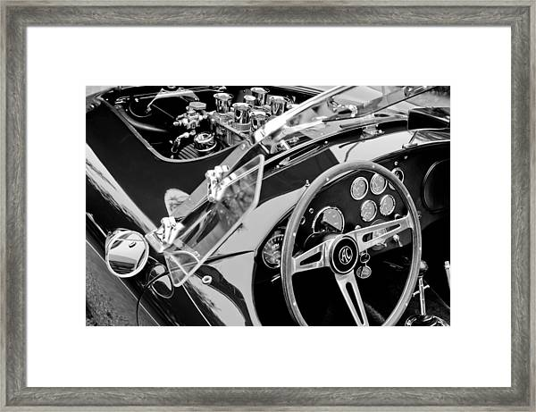Ac Shelby Cobra Engine - Steering Wheel Framed Print