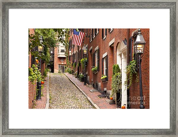 Framed Print featuring the photograph Acorn Street Boston by Brian Jannsen