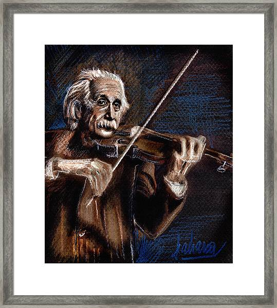 Albert Einstein And Violin Framed Print