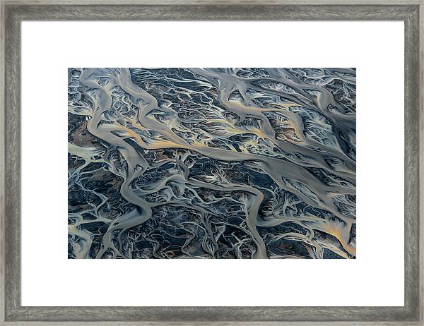 An Aerial View Of Streams Of Glacier Framed Print