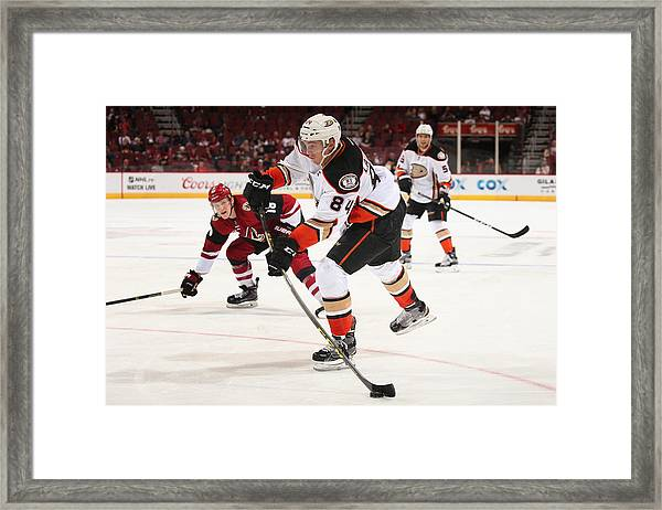 Anaheim Ducks V Arizona Coyotes Framed Print by Christian Petersen