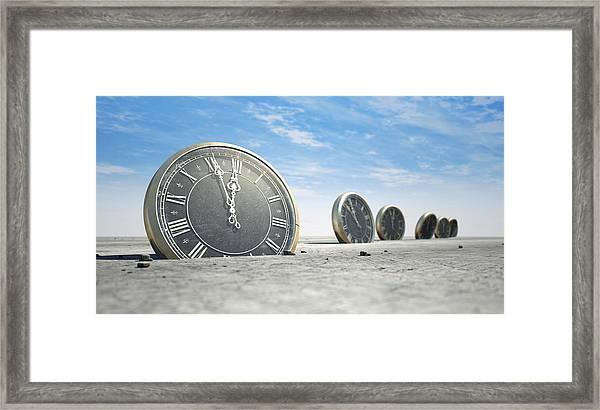Antique Clocks In Desert Sand Framed Print
