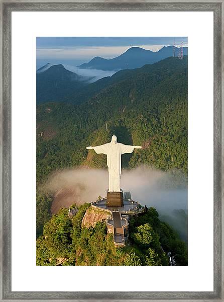 Art Deco Statue Of Jesus, Known Framed Print