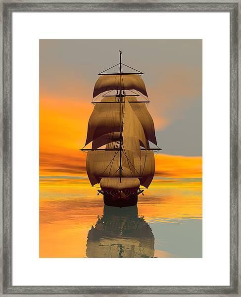 Framed Print featuring the digital art At Full Sail by Sandra Bauser Digital Art