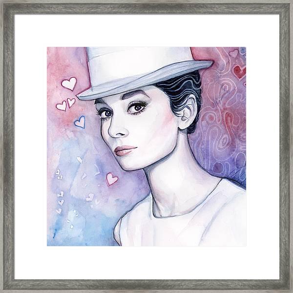 Audrey Hepburn Fashion Watercolor Framed Print