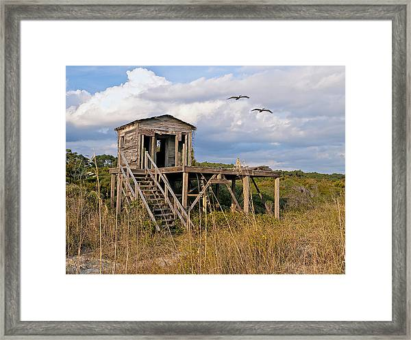 Beach Changing Shack Framed Print