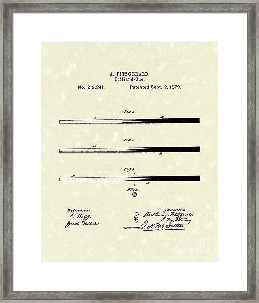 Billiard Cue 1879 Patent Art Framed Print