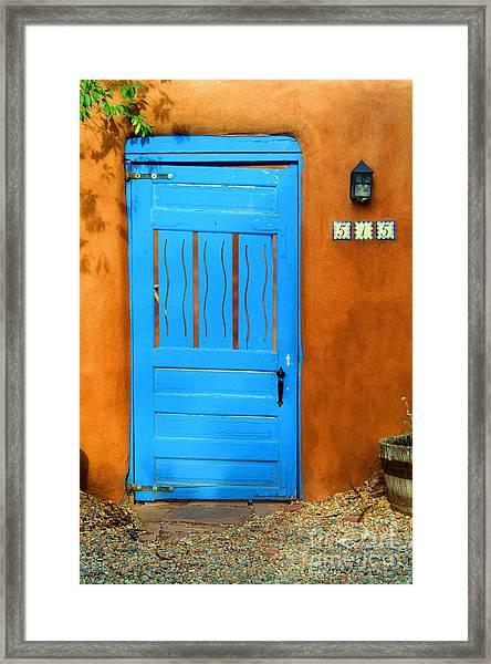 Blue Door In Santa Fe Framed Print