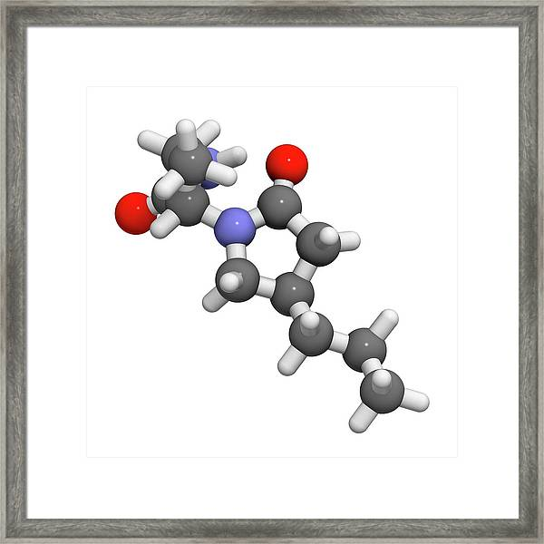 Brivaracetam Anticonvulsant Drug Molecule Framed Print by Molekuul