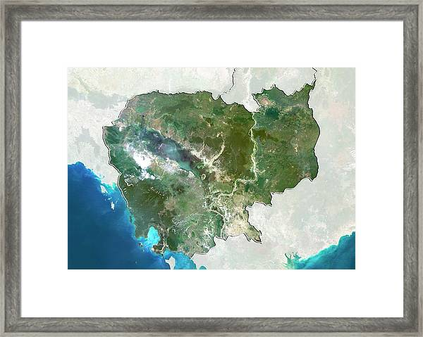 Cambodia Framed Print by Planetobserver/science Photo Library