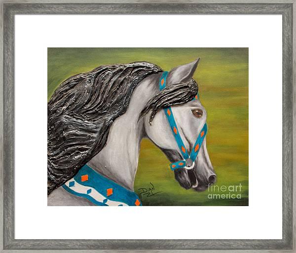 Carousel Horse Storm Chaser Framed Print
