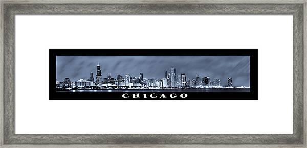 Chicago Skyline At Night Framed Print