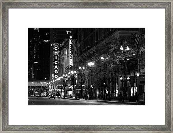 Chicago Theatre At Night Framed Print