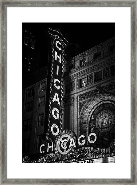Chicago Theatre Sign In Black And White Framed Print by Paul Velgos