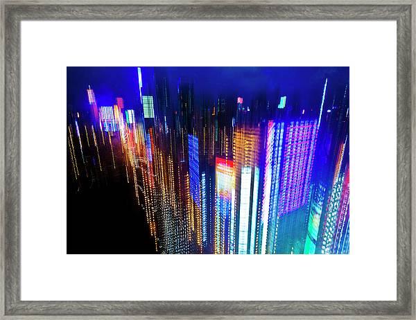 Cityscape Of Shanghai At Night Framed Print