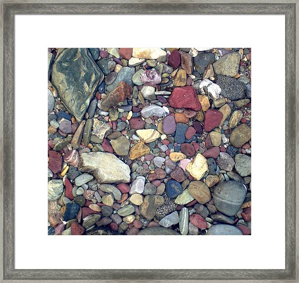 Colorful Lake Rocks Framed Print