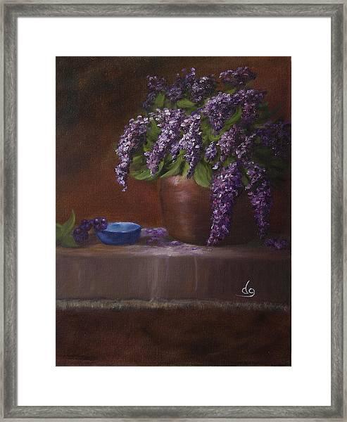 Copper Vase And Lilacs Framed Print