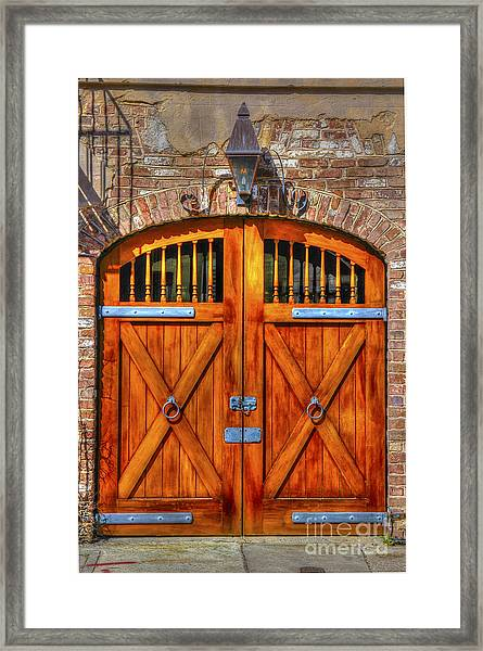 Doors Of Charleston Framed Print