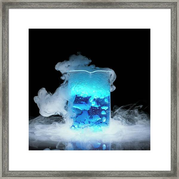 Dry Ice Vaporising Framed Print by Science Photo Library