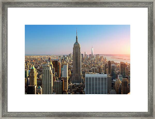 Empire State Building At Sunset Framed Print
