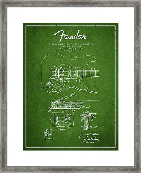 Fender Tremolo Device Patent Drawing From 1956 Framed Print