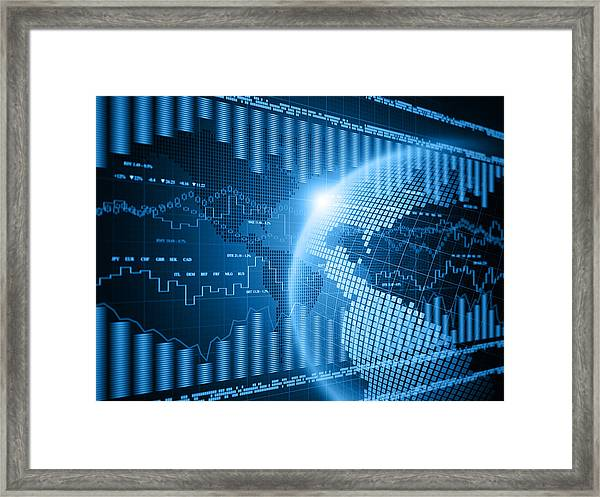 Financial Charts Framed Print by Vertigo3d