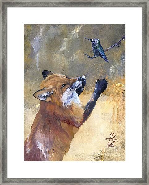 Fox Dances For Hummingbird Framed Print