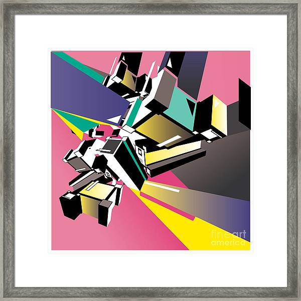 Geometric Colorful Design Abstract Framed Print by Singpentinkhappy