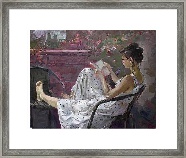 Girl Reading Framed Print