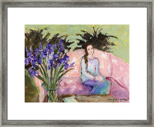 Girl With Iris Framed Print