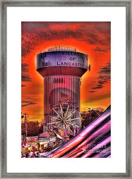 Glowing Water Tower Framed Print