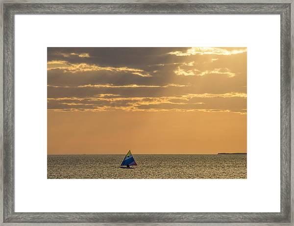 Golden Sail On Menemsha Bight Framed Print