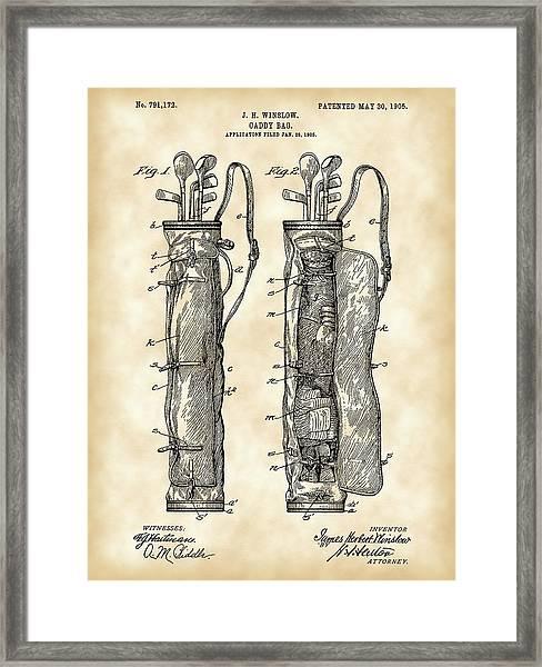 Golf Bag Patent 1905 - Vintage Framed Print