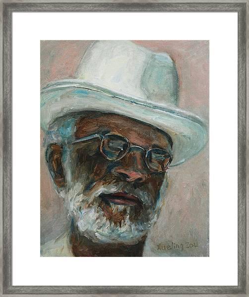 Gray Beard Under White Hat Framed Print