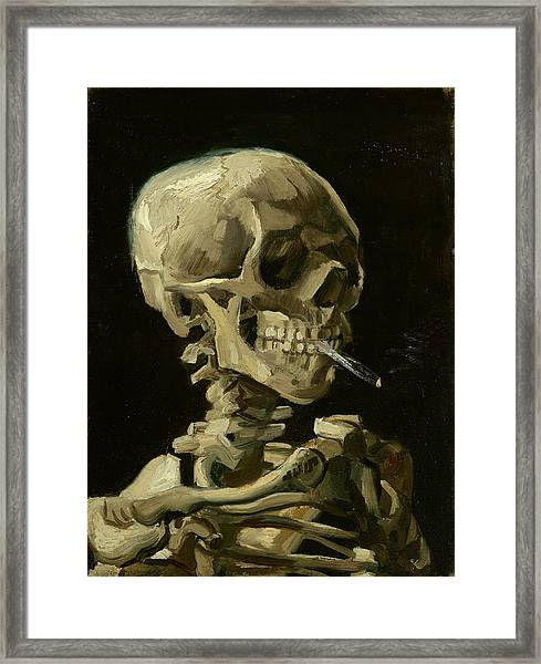 Head Of A Skeleton With A Burning Cigarette Framed Print