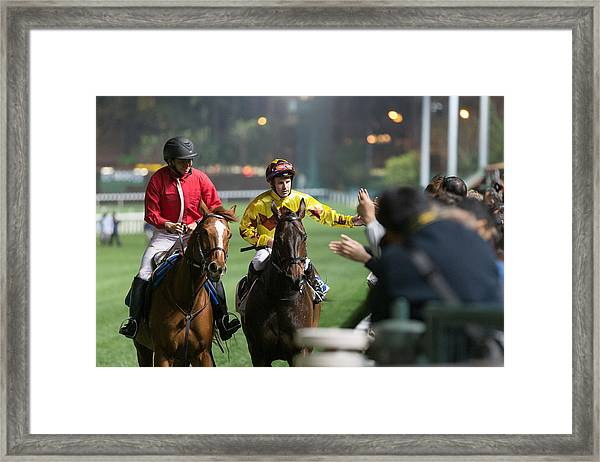Horse Racing In Hong Kong - Happy Valley Racecourse Framed Print by Lo Chun Kit