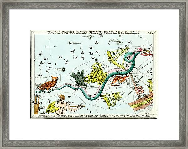Hydra Constellation Framed Print by Royal Astronomical Society/science Photo Library