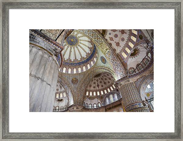 Interior Of Blue Mosque In Istanbul Turkey Framed Print