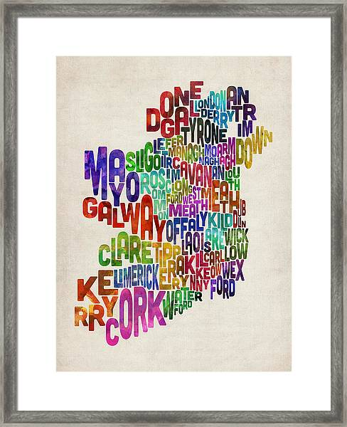 Ireland Eire County Text Map Framed Print