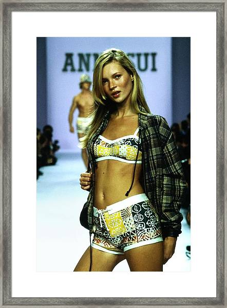 Kate Moss On A Runway For Anna Sui Framed Print