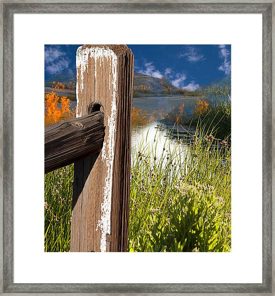 Landscape With Fence Pole Framed Print