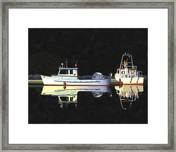 Last Light  Island Moorage Framed Print