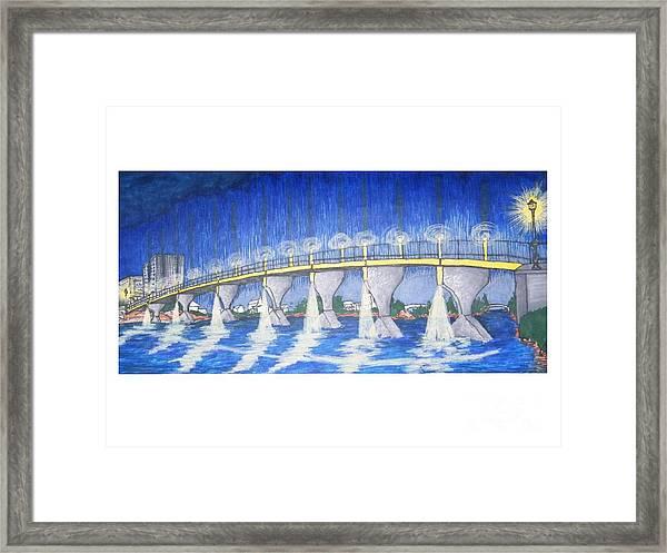 Lit Bridge Framed Print
