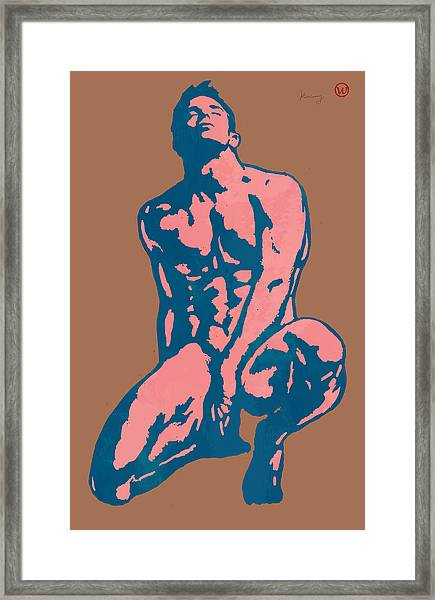 Man Nude Pop Stylised Etching Art Poster  Framed Print by Kim Wang