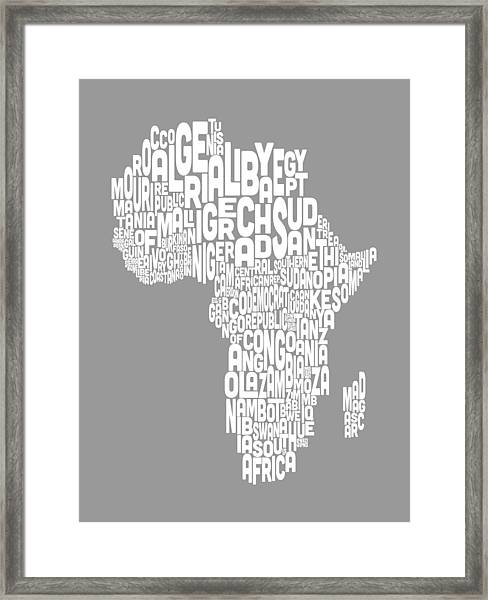 Map Of Africa Map Text Art Framed Print